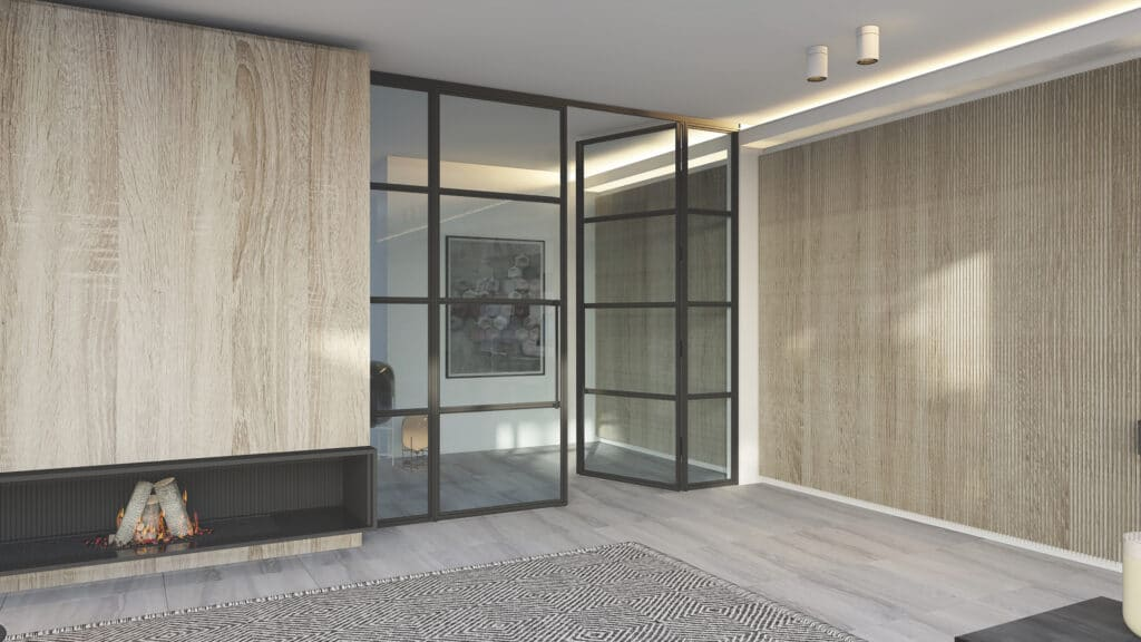 steel-replacement doors and windows inside a room